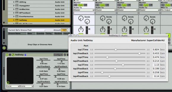 SuperColliderAU Plug-In Running in Ableton Live